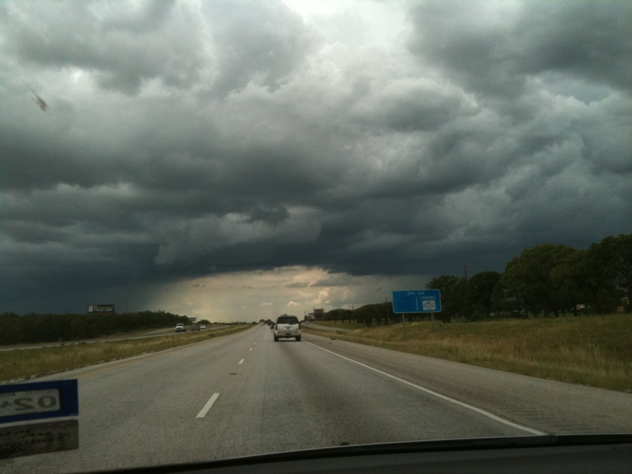 Thundershowers on either side of Interstate 20 west of Cisco, Texas, May 2012